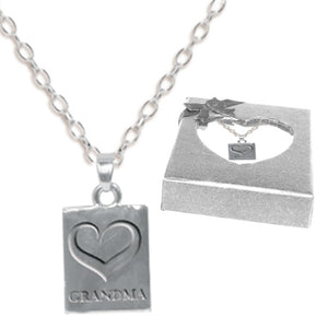 GRANDMA STAMPED HEART NECKLACE