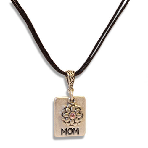 MOM FLOWER NECKLACE W/STONE