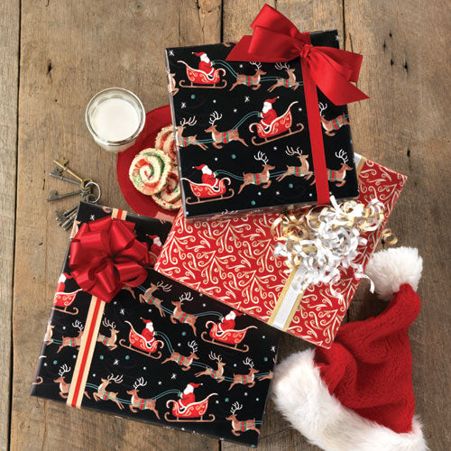SANTA'S SLEIGH REVERSIBLE ROLL WRAP