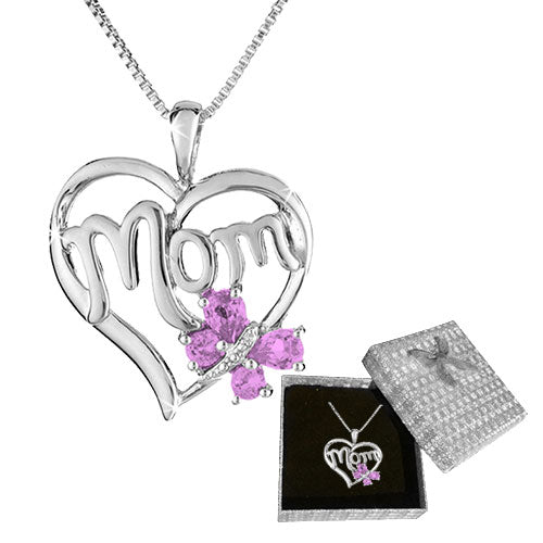 MOM BUTTERFLY HEART NECKLACE