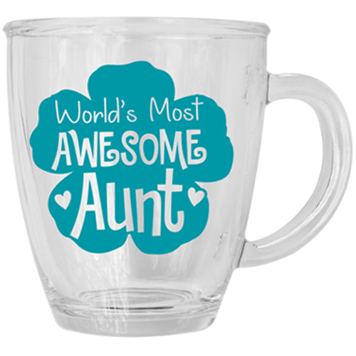WORLD'S MOST AWESOME AUNT GLASS MUG