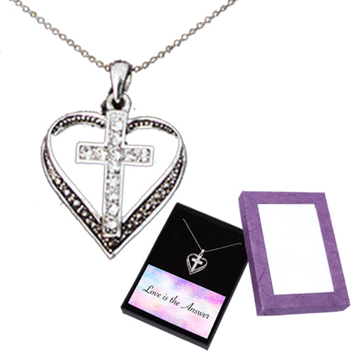 LOVE IS THE ANSWER CRYSTAL CROSS NECKLACE