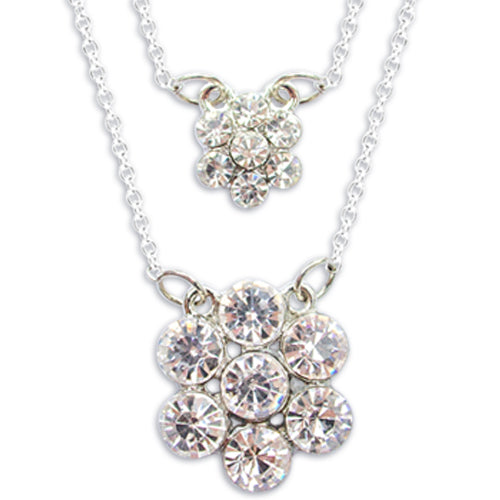 DOUBLE CRYSTAL FLOWER NECKLACE