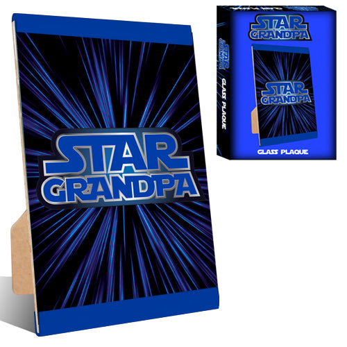 STAR GRANDPA GLASS PLAQUE