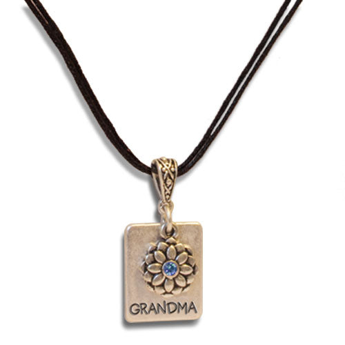 GRANDMA FLOWER NECKLACE W/STONE