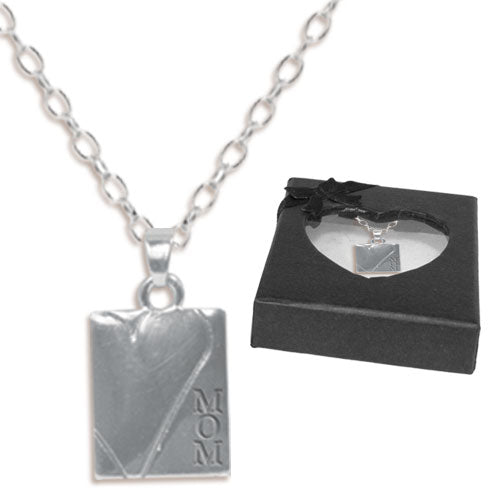 MOM STAMPED HEART NECKLACE