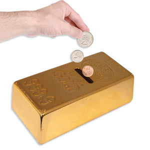 CERAMIC GOLD BANK SPARE CHANGE