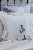 Monogram Flounce Pillow Cover