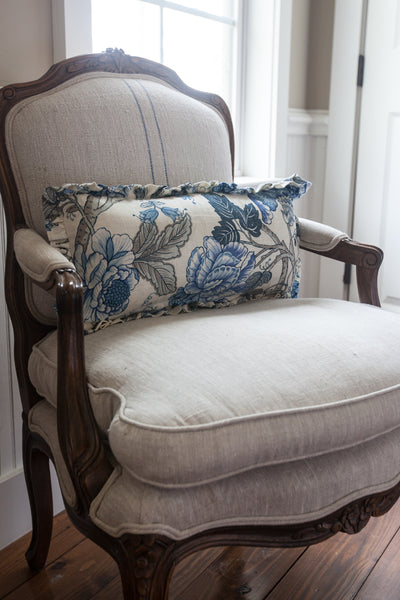 Iris Blue Floral Lumbar Ruffle Pillow Cover