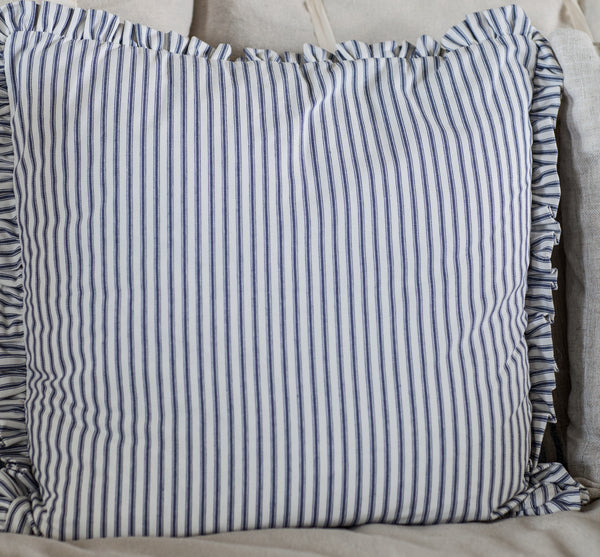 Blue Ticking Stripe Pillow Cover with Mini Ruffle