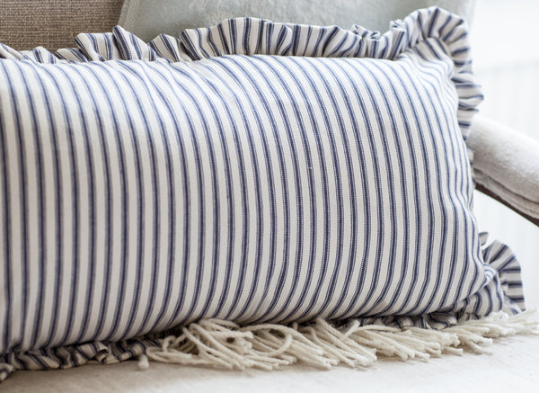 Blue Ticking Lumbar Ruffle Pillow Cover