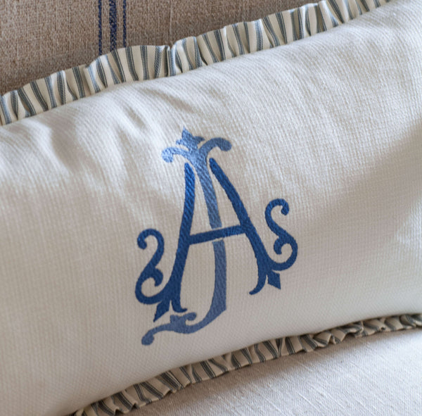Luxury Collection - Stitched Monogram European Linen Lumbar Pillow
