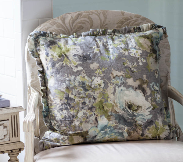 Elegant Gray Floral Pillow