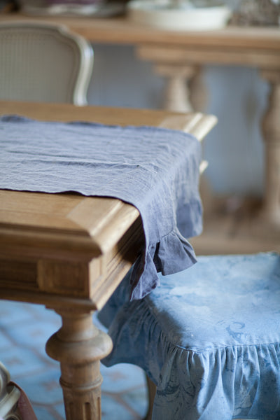 Luxury Linen Ruffled Table Runner ~  Dark Gray