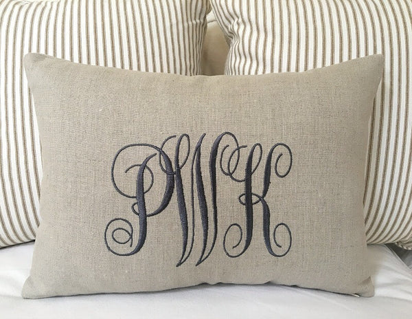 Stitched Monogram Linen Pillow Cover