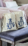 Monogram Sheet Set Drawstring Bags ~ blue, black or red set of 2