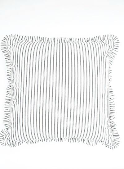 Black Ticking Stripe Pillow Cover with Mini Ruffle