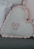 Monogram Boxed Heart Pillow with Ticking Ruffle - Pink