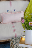 Pink Ticking Ruffle Pillow Cover