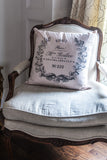 Pink Ticking with Paris Crest Pillow Cover