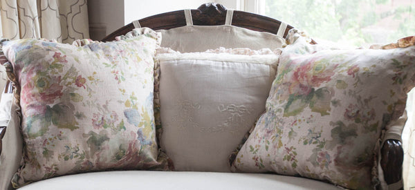 Peony Floral Watercolor Pillow Cover
