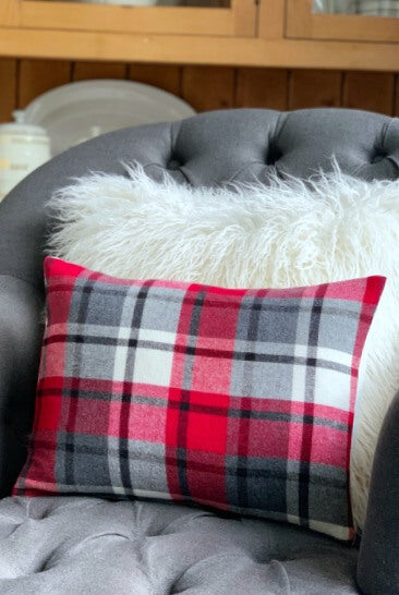 Gray, Red Plaid Pillow Cover