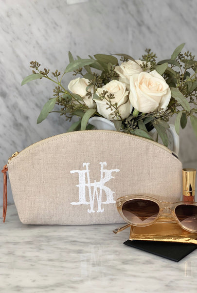 Monogram Flax Linen Clutch / Cosmetic Bag