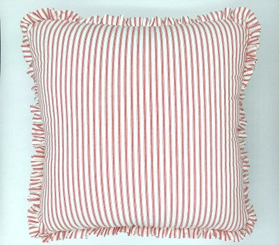 Boxed Double Ruffle Pillow Cover - Red