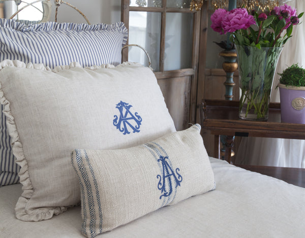 Monogram Linen Bed Shams - 3 sizes