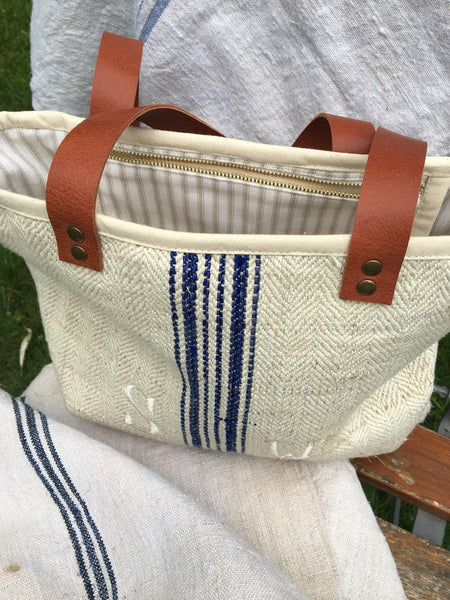 Monogram Grain Sack Tote - blue or red