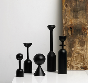 TALL BLACK WOODEN CANDLE HOLDER