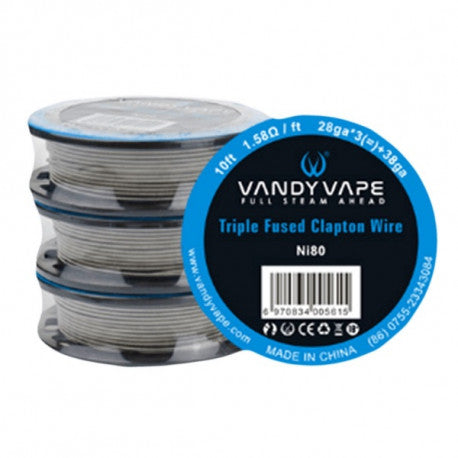 VANDY VAPE ROLLO CABLE PARA RESISTENCIA TRIPLE FUSED CLAPTON 1.58 OHM 10 FT