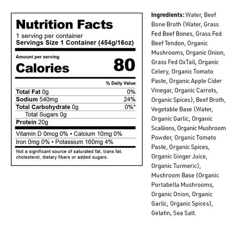 beef bone broth nutrition facts and ingredients