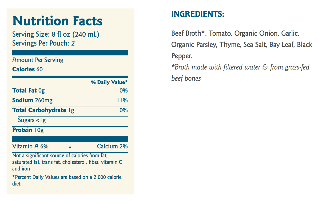 beef bone broth nutrition ingredients