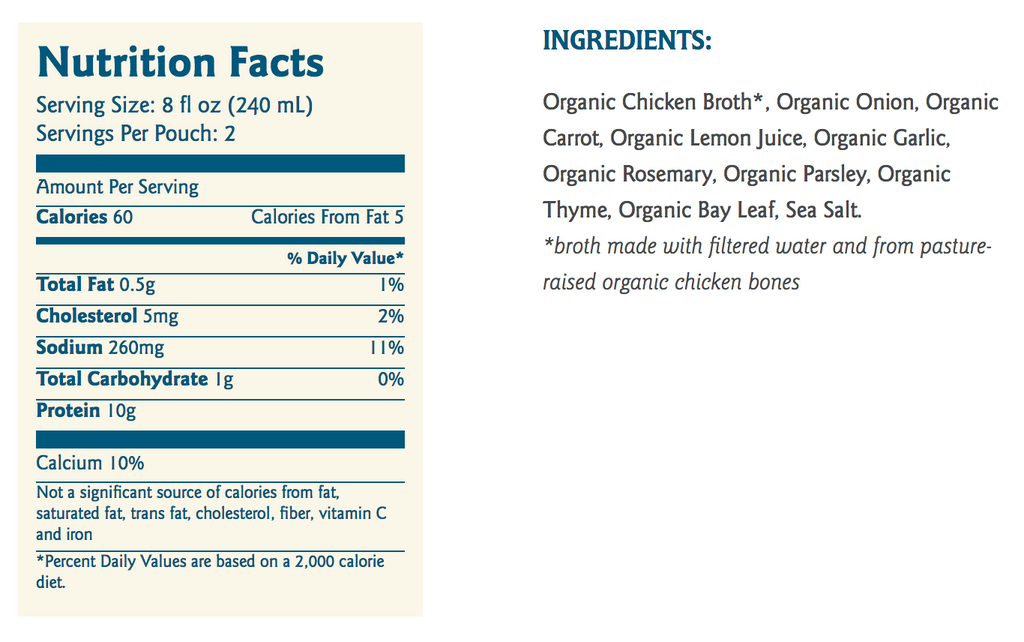 rosemary lemon chicken bone broth nutrition ingredients