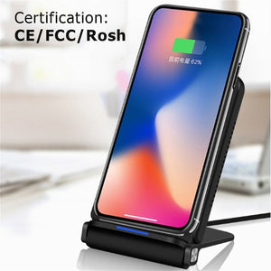 Foldable Double Coil Fast Wireless Qi Standard Charging Stand For iPhones 8, 8+, X (all versions), Samsung 8, Note