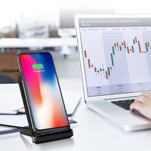 Load image into Gallery viewer, Foldable Double Coil Fast Wireless Qi Standard Charging Stand For iPhones 8, 8+, X (all versions), Samsung 8, Note