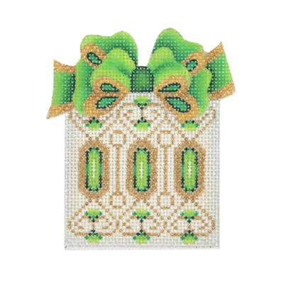 BB 0002 - Package - White with Green & Gold Bow