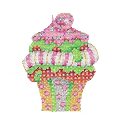 BB 0115 - Cupcake - Gold, Silver & Green Stripes