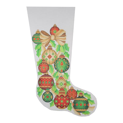 BB 0243 - Christmas Stocking - Gold Bow & Jeweled Ornaments