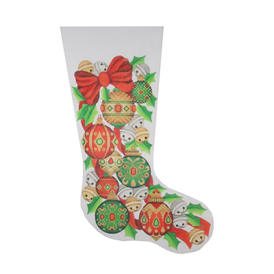 BB 0244 - Christmas Stocking - Red Bow & Jeweled Ornaments