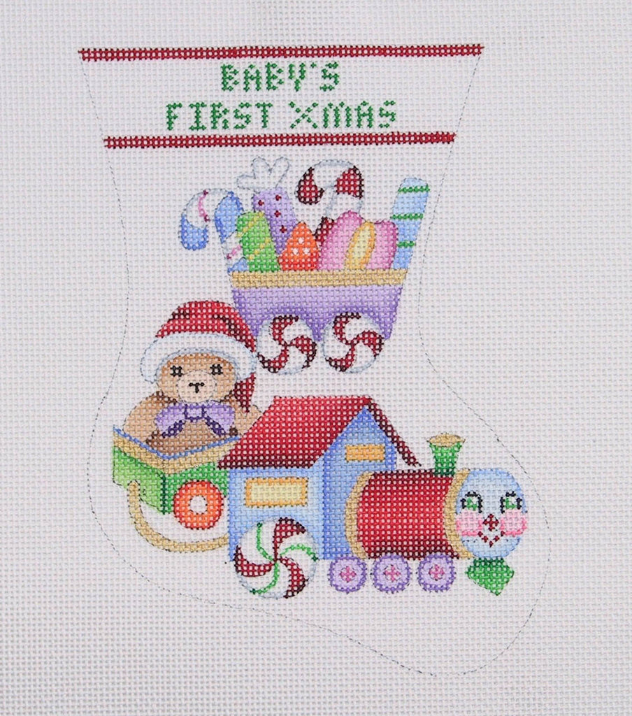BB 0314 - Baby's First Christmas Mini Stocking - Candy Train with Bear