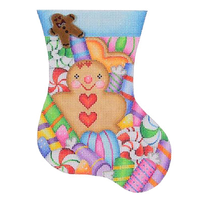 BB 0319 - Mini Stocking - Gingerbread Man & Candy Blue Cuff