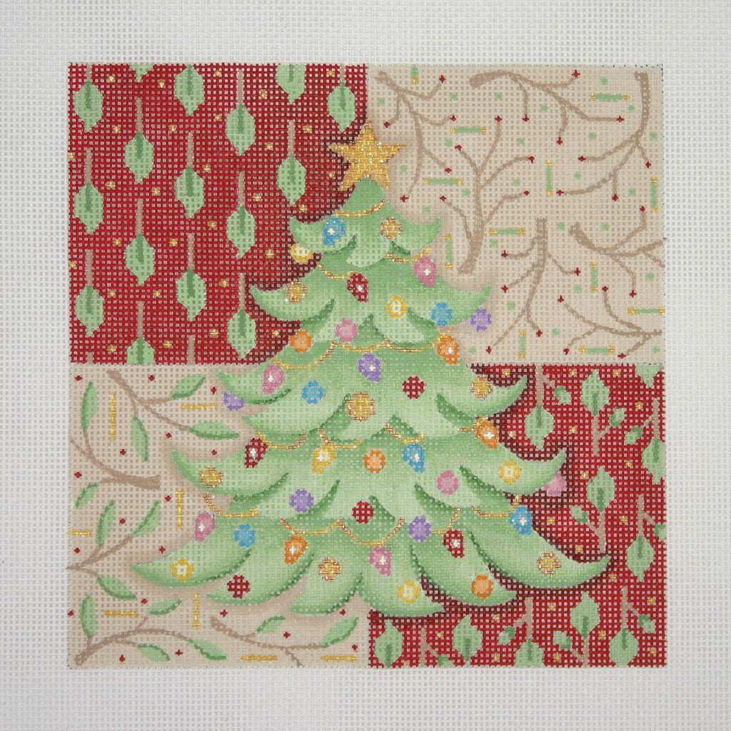 BB 0656 - Christmas Pillow - Christmas Tree on Patterned Background