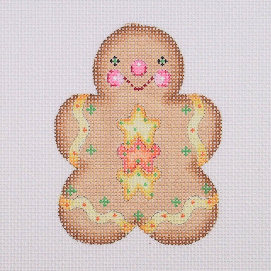 BB 0931 - Gingerbread Boy - Yellow & Orange Star Buttons with Yellow Scallop