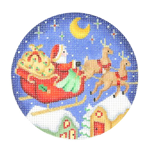 BB 0380 - Snow Scene - Santa on Sleigh with Reindeer