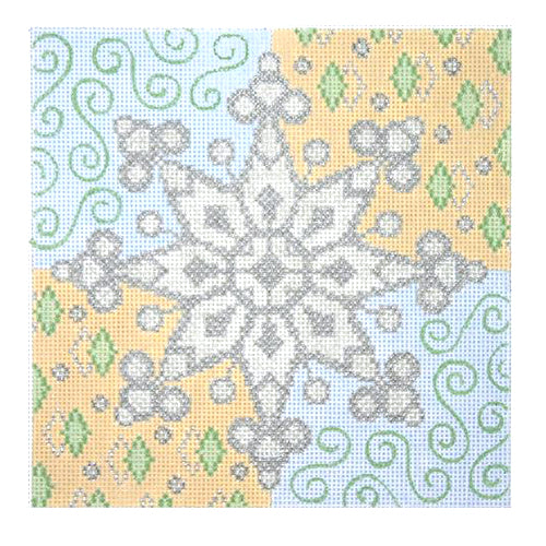 BB 0389 - Christmas Pillow - Snowflake on Patterned Background