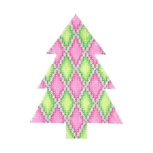 BB 0625 - Mini Tree - Pink & Green Diamond Pattern