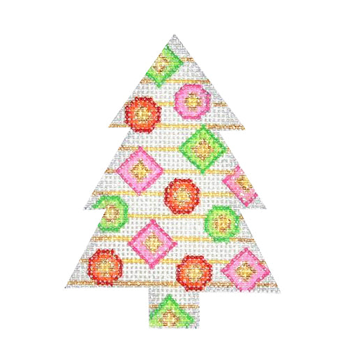 BB 0635 - Mini Tree - Pink with Green & Red Dots