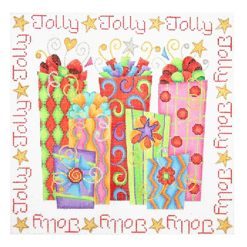 BB 0652 - Christmas Pillow - Packages with Jolly Border